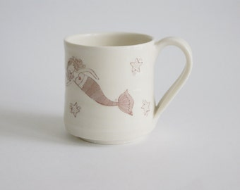 Mermaid Cup -  Children's Cup -  Small Mug - Porcelain Cup -