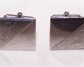 1950s Etched STERLING SILVER Cufflinks/Cuff Links