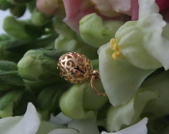 Nest Eggs, Handforged, OOAK Golden Eggs (18k Rose or Yellow) with Tiny Gold Egg Charm Inside, Made to Order (Red Hen Collection)