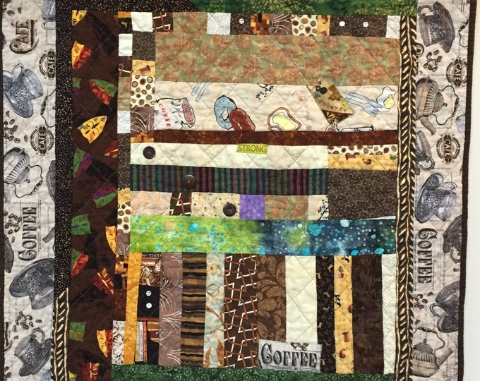 After My Coffee small quilted wallhanging