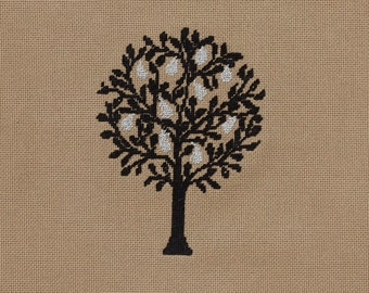 Cross stitch pattern PEAR TREE - retro,scandinavian,needlecraft,embroidery pattern,swedish,diy,scandinavian embroidery,black,Anette Eriksson
