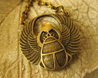 EGYPTIAN SCARAB NECKLACE Brass Jewelry Scarab Jewelry Sacred Jewelry Fashion Jewelry Egypt Necklace Beetle Necklace Vintage Handmade