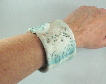Fabric Wrist Cuff Bracelet, Handpainted fabric embroidered