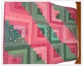 "Lap Quilt, Log Cabin Quilt, 41x54"", greens and pinks quilt, machine quilted"