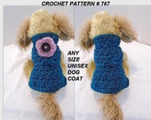 ANY SIZE Unisex Dog Coat Crochet PATTERN, chihuahua, yorkie, grey hound, #767