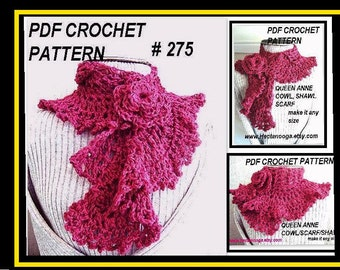 Crochet PATTERN scarf cowl  num 275, pink QUEEN ANNE Cowl, Scarf or Shawl.... make it any size.