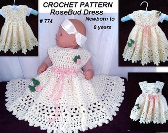 CROCHET PATTERN - Baby Girl Dress, crochet baby dress,  patterns for kids and babies,  child, toddler, RoseBud Dress - Crochet Pattern #774