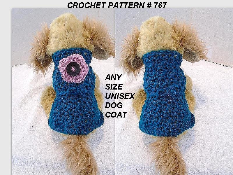 ANY SIZE Unisex Dog Coat Crochet PATTERN chihuahua yorkie