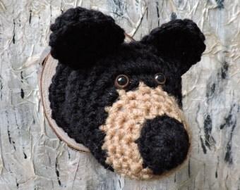 Faux Taxidermy Bear Head, crochet woodland animal,  wall decor, hunting, black bear ,up north, nursery, north woods, mount, cabin decor