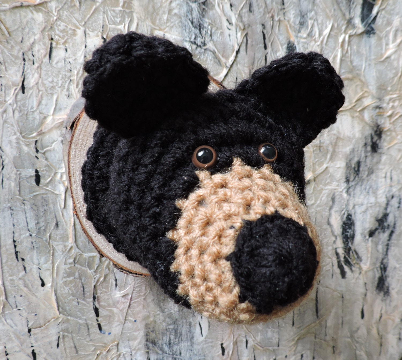 Faux taxidermy bear headmade to order crochet woodland zoom amipublicfo Choice Image