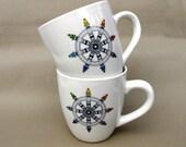 Buddha Rainbow Wheel of Dhamma Coffee Cup Ceramic, Sitting Buddha Chai Tea Mug 12 Oz