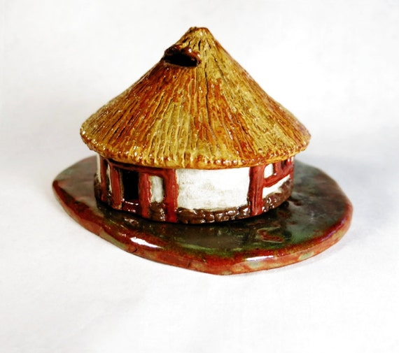 Ceramic Celtic Hut Little Handmade Miniature Terrracotta Clay Candle Holder