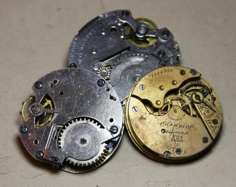 Salvaged Pocket WATCH Parts (3) Movements for Steampunk Industrial Art