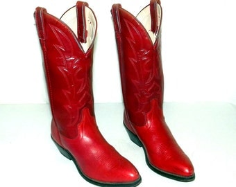 Vintage Womens Red Leather Western Cowboy Boots size 5.5 M - cowgirl