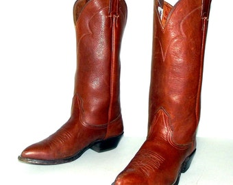 Brown Leather Nocona Cowboy boots womens size 5.5 C wide width western cowgirl