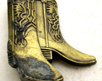 Vintage Cowboy Boots Belt Buckle - western wear - cowgirl - brass color - distressed