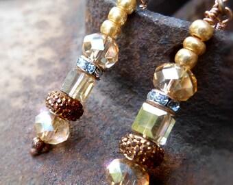 Dainty warm gold crystal earrings