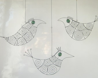 Wire Art Sculptures / Three Birds In Green / Window Hangings / Metal Ornaments
