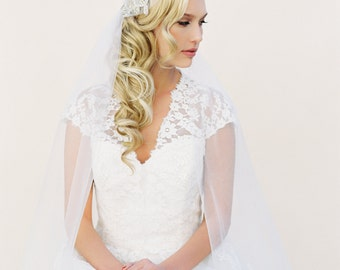 Crystal Veil, Juliet Cap Veil, Wedding Veil, Veil, Bridal Cap Veil, Halo Crown Veil, Floral Wreath, Crystal Halo, Crystal Vine, Style 1515