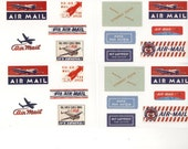 Set of 92 Retro Labels AIRMAIL AIR MAIL Stickers Mail Art
