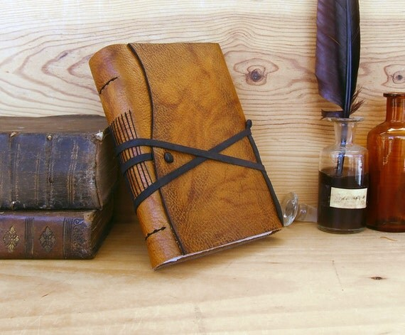 Rustic Leather Journal, Orange Brown Leather, FREE MONOGRAMMING