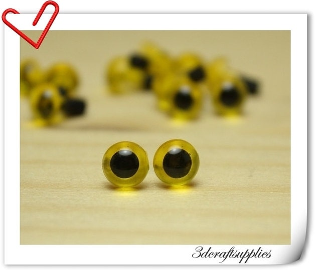 Safety Eyes Amigurumi Malaysia : 6 mm lemonyellow Safety eye amigurumi eye doll eyes cat eye
