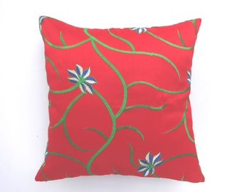 Red  pillows  cover with floral  embroidery.  art instock silk pillow. festive pillow. 18 and 16 inch Set  of  5 available  on  sale 20% off