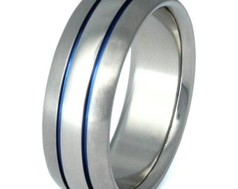 Thin Blue Line Titanium Wedding Band - Blue Custom Ring - b4