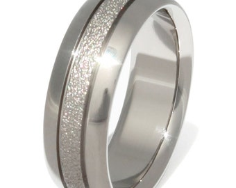Frost Titanium Wedding Band - Textured Custom Ring with Stripes - Splendid f27
