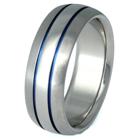 Thin Blue Line Titanium Wedding Band Blue Custom Ring b4