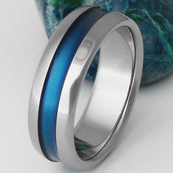 thin blue line wedding ring thin blue line titanium wedding band handcrafted polished 7969