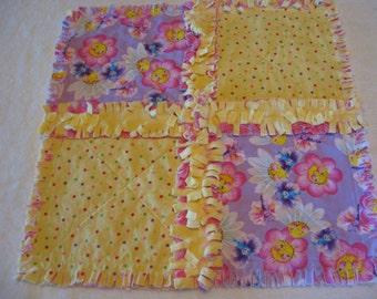 Happy Smiley Flowers Baby Girl Mini Rag Quilt Security Blanket Burpie