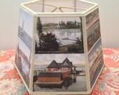 Lake Champlain Lampshade Lamp Shade Vintage Postcard Lake Scenes - 7x10x7 clip top - Handmade in VT - Postcard Lampshade