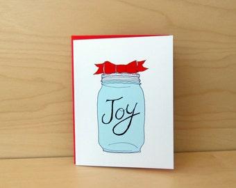 Mason Jar  Christmas Cards - set of 8 - READY TO SHIP