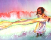 NEW Ethiopian Wind Dancer 5x10 art print,  long format