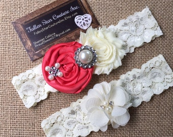 Wedding garter / David's Bridal Guava / wedding  garter SET / bridal  garter/  lace garter