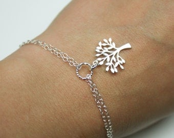 Tree of Life Bracelet in Sterling Silver - Adjustable Double Chain Bracelet