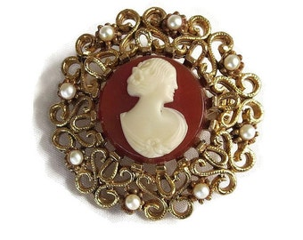 Vintage Victorian Revival Molded Celluloid & Faux Pearl Filigree Lady Cameo Brooch or Pin signed JJ Jonette Jewelry