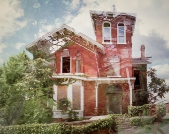 """Detroit Photography, Brush Park, sureal, dreamy cityscape, abandoned building, natural evolution, wall art """"Dual Existence"""""""