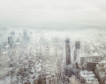 "Dreamscape Surreal New York cityscape - Otherworldly strange NYC landscape minimalist wall art grey fog mist ""Misty Vision"""