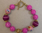 Vintage Chinese Pink Butterfly 1970s Porcelain Bead Bracelet, Pink Fossil Stone, Vintage Japanese Plum Purple Silk Bead