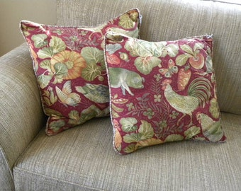 Pair of Hand Made Decorator Pillows Envelope Close