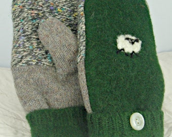 Felted Mittens,wool mittens,Upcycled mittens,Fleece Lined, LARGE