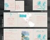 St. Lucia Destination Wedding Invitation - Tri-fold invitation - St. Lucia Map, Palm Tree, Photo