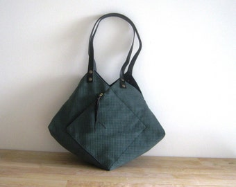 Statement Origami Punched Green Vegan Suede Tote