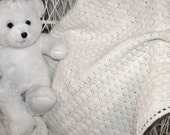 Baby Afghan, White, Crocheted - Scallops, Blanket, Baptism, Pure, Soft, Newborn, Baby Shower, Ready To Ship