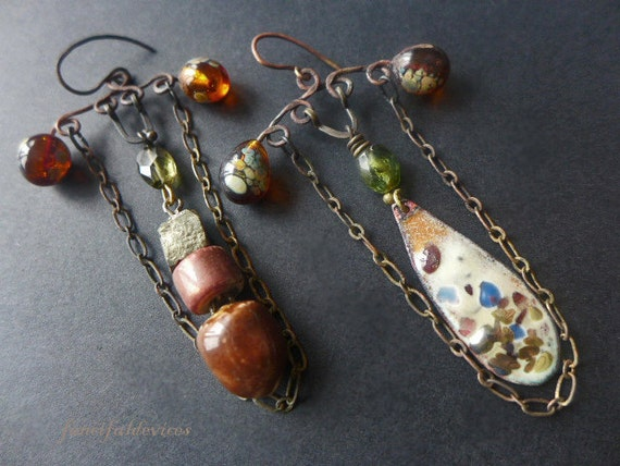 Komorebi. Rustic assemblage lampwork asymmetrical earrings.