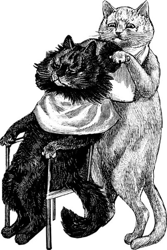 Barber shop cats vintage ART PRINTABLE animal illustration CAT digital download clipart png graphics images digital stamp black and white