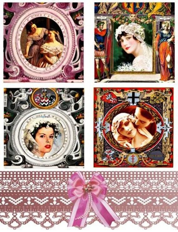 "wedding brides antique frames clip art collage sheet 3.8"" x 3.8"" SQUARES digital download image graphics printable scrapbooking craft paper"