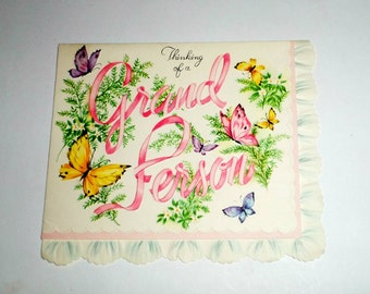 Vintage Thinking Of You Card - Greeting Card - Butterflies and Flowers Card - 1950's Greeting Card - USA Card - Unused Vintage Greeting Card